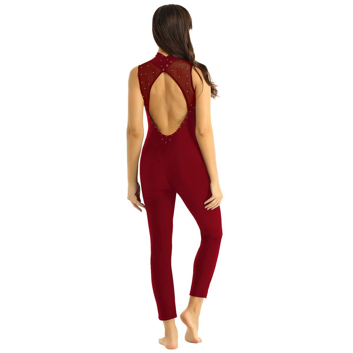 inhzoy Maillot de Danza Ballet Cuero para Mujer Mono Deportivo de Gimnasia R/ítmica Sin Mangas Leotardo de Patinaje Yoga Fitness Ropa Deporte