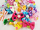 Hixixi 50pcs/25 pairs Pet Cat Dog Hair Bows Rhinestone Beads Flowers Topknot With Rubber Bands Puppy Hair Accessories Mix Color Random