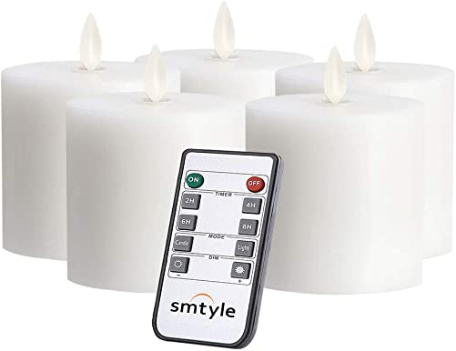 smtyle White Battery Operated Candles with Moving Flame Wick and Timer, Flameless Flickering LED Pillar Candles White3in-P5