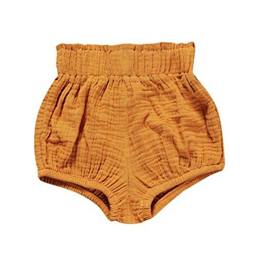 1 Cotton Linen (Hot Sale!Todaies Newborn Children Cute Pants Baby Girl Boys Dot Geometric Shorts Pants Cotton Linen Leggings (0-6M, Yellow))