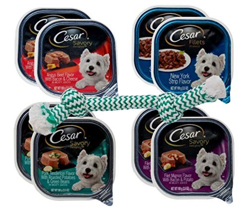 Cesar Savory Filets Small Breed Dog Food 4 Flavor 8 Can with Toy Bundle, 2 Each: Angus Beef, NY Strip, Pork Tenderloin, Filet Mignon Bacon Potato (3.5 Ounces)