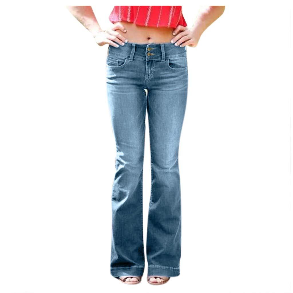 WUAI-Women High Waist Flare Jeans Bell Bottom Wide Leg Loose Jeans Palazzo Denim Bootcut Pants(Light Blue,Large) by WUAI-Women