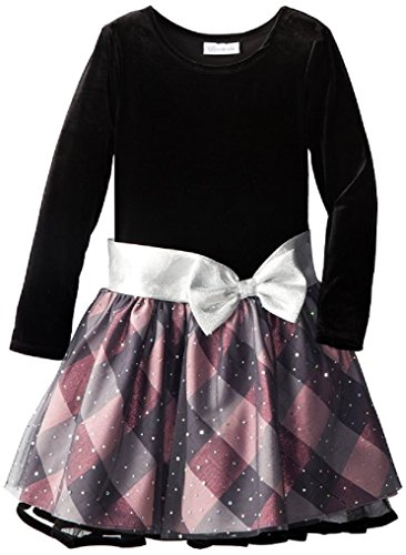 Denim Velvet Skirt (Bonnie Jean Little Girls Velvet Bodice Mesh Skirt dress, Black / Pink, 6)