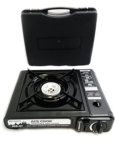 Excelife 87230 7,650 BTU Portable Butane Gas Stove with Carrying Case. Auto Ignition, Safety Shut-off. CSA Approved.