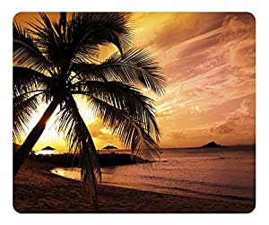Tropical Beach Sunset Gaming Mouse Pad - Unique Personalized Oblong Shaped Mouse Pad Design Natural Eco Rubber Durable Computer Desk Stationery Accessories Gifts For Mouse Pads - Support Wired Wireless or Bluetooth Mouse