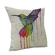 Nunubee Linen Bird Throw Pillow Case Sofa Cushion Cover Car Home Decor Type C