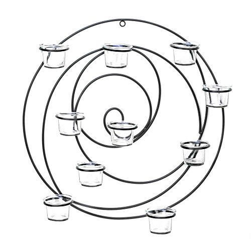 Large Round Circle Black Sconce Wall Mount Hurricane Candle Holder