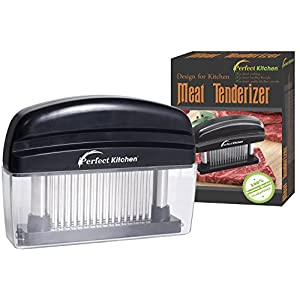 iPerfect Kitchen 48 Stainless Steel Blades Meat Tenderizer with Cleaning Brush - Set of 1 - Black
