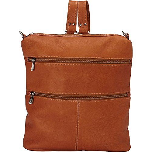 Piel Leather Convertible Multi-Pocket Shoulder Bag Backpack, Saddle, One Size by Piel Leather