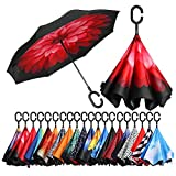 BAGAIL Double Layer Inverted Umbrellas Reverse Folding Umbrella Windproof UV Protection Big Straight Umbrella for Car Rain Outdoor with C-Shaped Handle Pink