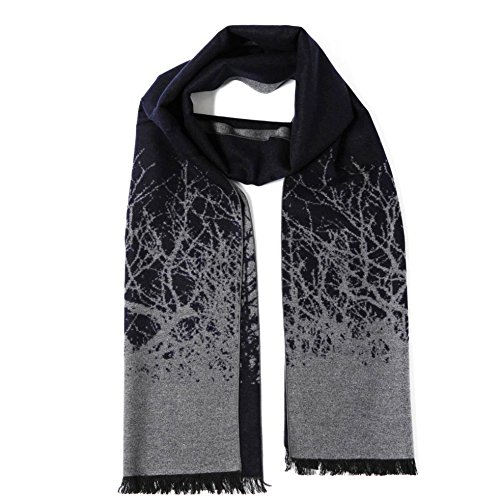 Cuddle Dreams Men's Classic Fall Winter Scarves, 100% Brushed Silk, Luxuriously Soft (Navy Gray Abstract Design)