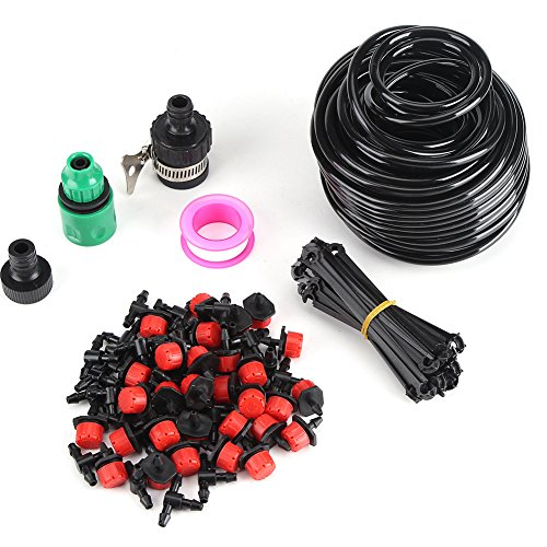 25m Adjustable Automatic Micro Drip Irrigation System Kit Plant Self Watering Garden Hose Kits DIY Watering Timer Garden Hose Kits for Patio Garden Flower Plants