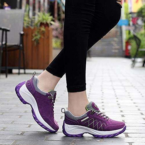 Increased Sports Fashion Shoes Women Shoes Leather PENGYGY Platform Purple Nubuck Shake Casual t0qdEwpnx6