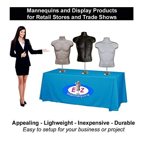 Deluxe 8 Metal Base. Dress Form Clothing Body Display with Stand 5-Pack Male Mannequin Torso by EZ Mannequins Great for Indoor Or Outdoor Table Products Easy Set Up and Transport Black