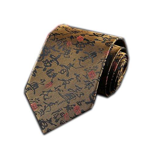 Men's Chinese Dragon Silk Tie Best Necktie Neckwear Brown Chinese Character ()