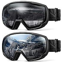 OUTDOORMASTER子供用スキーゴーグル 2個セット UV400 紫...