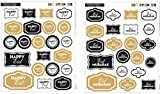 MuslimZon.com Happy Eid - Eid Mubarak Designer Sticker Sheets Eid Decorations 68 Stickers - Eid Ramadan Gifts ideas Party Decorations Black & Gold
