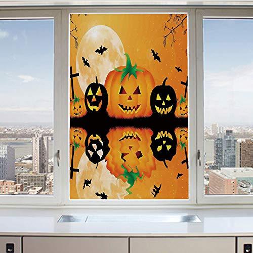 3D Decorative Privacy Window Films,Spooky Carved Halloween Pumpkin