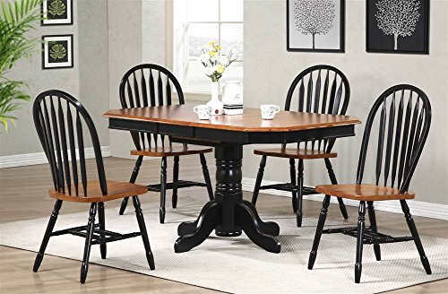 Price comparison product image Sunset Trading 5 Piece Clipped Edge Pedestal Extension Dining Set with Black and Cherry Arrowback Chairs