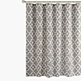 Biscaynebay Printed Shower Curtains, Morocco Pearl Textured Fabric Bathroom Curtains, 72 by 72 Inches Silver Grey