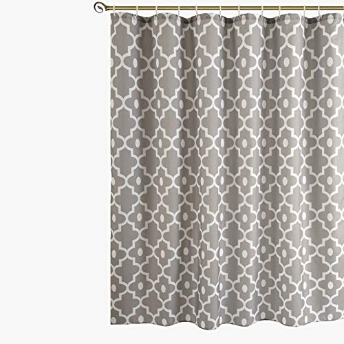 Biscaynebay Printed Shower Curtains, Morocco Pearl Textured Fabric Bathroom Curtains Silver Grey 72