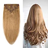 10-22inch Clip in Remy Human Hair Extensions Grade 7A Thick to End Full Head Natural Hair Long Straight 8 Pieces 18clips 95g 16'-18'', 27 Dark Blonde