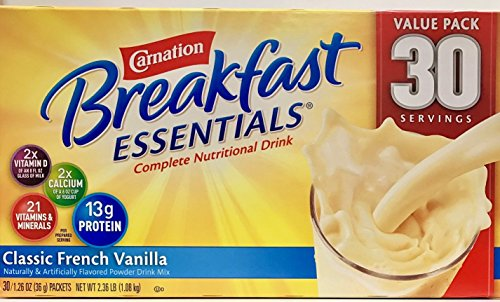 Nestle Carnation Breakfast Essentials - Classic French Vanilla - Drink Mix - 30 Servings Value Pack!