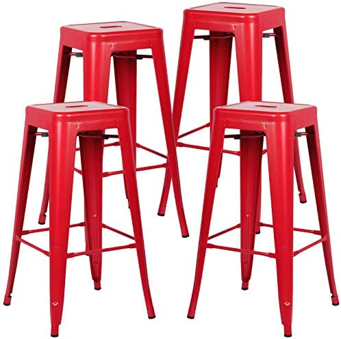 Poly and Bark Trattoria Bar Stool in Red Set of 4