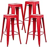 Poly and Bark Trattoria Bar Stool in Red (Set of 4)