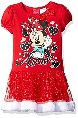 Disney Little Girls' Minnie Mouse Tutu Dress with Faux Fur Trim
