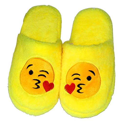 Imymax Unisex Emoji Cute Cartoon Slippers Warm Cozy Soft Stuffed Household Indoor Slippers (Label Size 38-39 = US7 - US8, Throw Kiss)