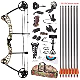 Leader Accessories Compound Bow 30-55lbs Archery Hunting Equipment with Max Speed 296fps (Green Camo. With Full Accessories)