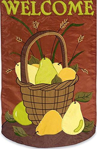 Evergreen Welcome Pear Basket Sculpted Garden Flag Primitive Fall 12.5
