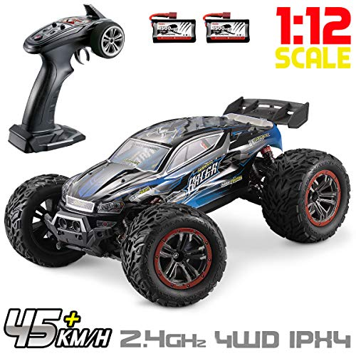 Hosim Large Size 1:12 Scale High Speed 46km/h 4WD 2.4Ghz Remote Control Truck 9156, Radio Controlled Off-Road RC Car Electronic Monster Truck R/C RTR Hobby Grade Cross-Country Car (Blue)
