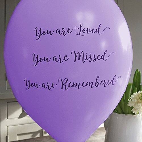 ANGEL & DOVE 25 Purple 'You are Loved, Missed, Remembered' Biodegradable Funeral Remembrance Balloons - for Memory Table, Memorial, Condolence, Anniversary by