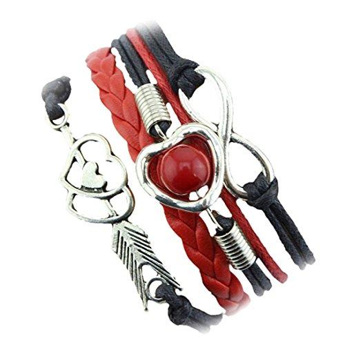 (Funic 1PC Cupid's Arrow of Love Multilayer Leather Pearl Bracelet Adjustable Bracelet (Black))
