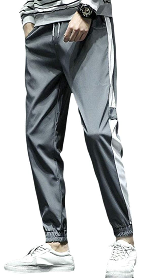 Spirio Mens Casual Sport Contrast Elastic Waisted Sweatpants Jogger Pants Trousers