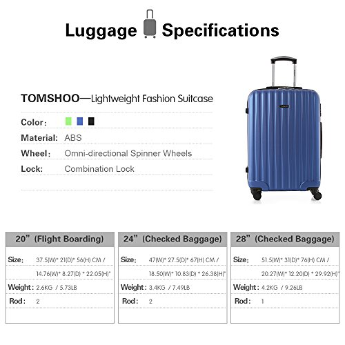 TOMSHOO Fashion Luggage Set, Carry on Suitcase, ABS Trolley, Hard Shell Combination Lock 4 Wheel Spinner Set, Blue, 3 Piece by TOMSHOO (Image #5)