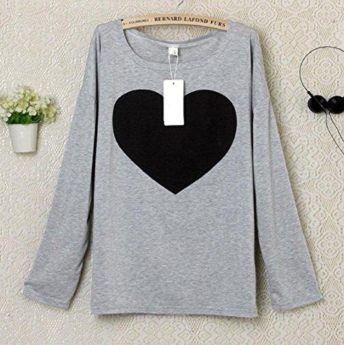 Sannysis Fashion Women Love Heart Printed langärmeliges Hemd Tops