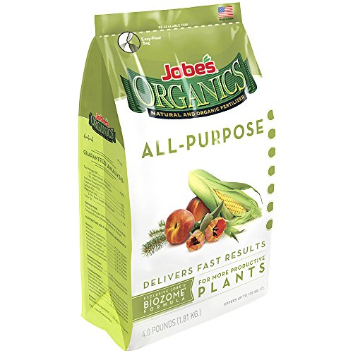 Jobe's Organics All Purpose Fertilizer with Biozome, 4-4-4 Organic Fast Acting Granular Fertilizer for All Plants, 4 pound bag