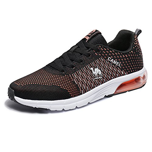 Camel Air Running Shoes Women Fly Knit Overpronation Lace-up Sports Athletic Sneakers Lightweight Non Slip (8,Black)