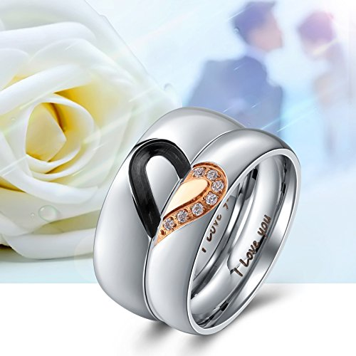 Aienid Rings Men and Women Couple Rings Heart I Love You Stainless Steel Wedding Bands for Womens Size 7 by Aienid (Image #3)