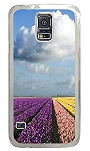 rubber Samsung Galaxy S5 cases Tulip Field PC Transparent Custom Samsung Galaxy S5 Case Cover