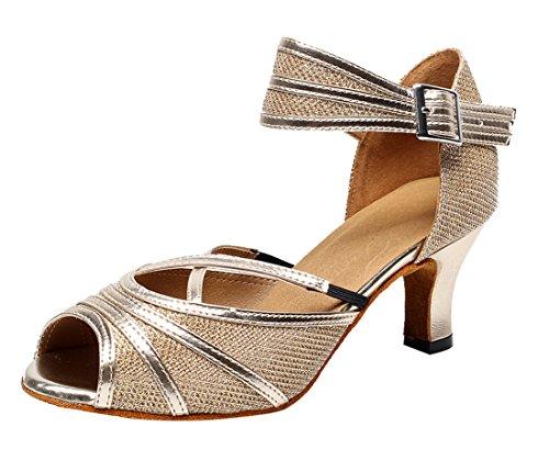 Tda Moda Para Mujer Peep Toe Glitter Salsa Sintética Tango Ballroom Latin Dance Zapatos De Boda 6 Cm De Oro Del Talón