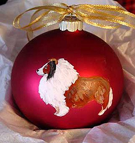 Shetland Sheepdog Sheltie Dog Hand Painted Christmas Ornament - Can Be Personalized with Name