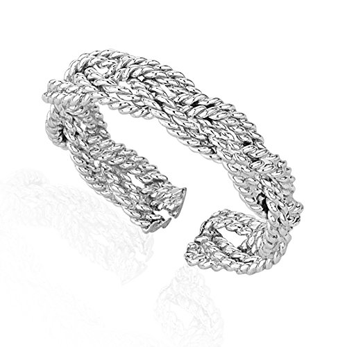 925 Sterling Silver Braided woven Twisted Rope Open Ended Band Toe Ring (Braided Ring Silver Life Sterling)
