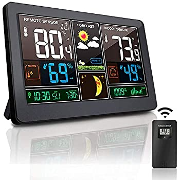 Alarm Clock Room Hygrometer with Weather Forecast Wittime 2079 Wireless Weather Station,Indoor Outdoor Thermometer HD Color Screen Digital Temperature Humidity Monitor