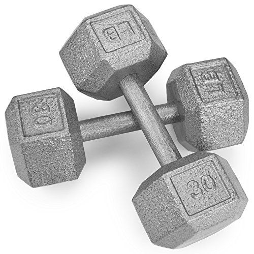 Crown Sporting Goods Pair (2) of Cast Iron Hex Dumbbells with Hammertone Finish (30 LB)
