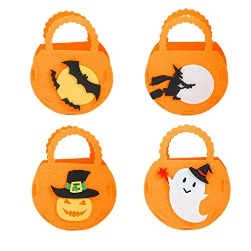 Halloween Cute DIY Candy Bowl Bags Bulk Bucket Favor Gift Bags Holder 4 PCAK ()
