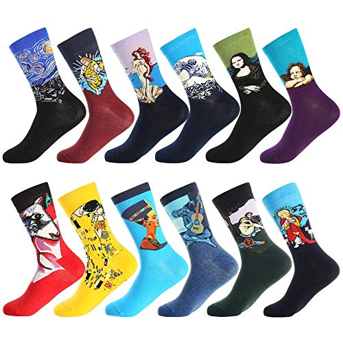 Dress Socks for Men & Women,Colorful Funny Crazy Novelty Fun Dress Socks Pack by Bonangel,Cool Pattern Crew Socks With Gift Box (Painting 3)  Price: $27.99